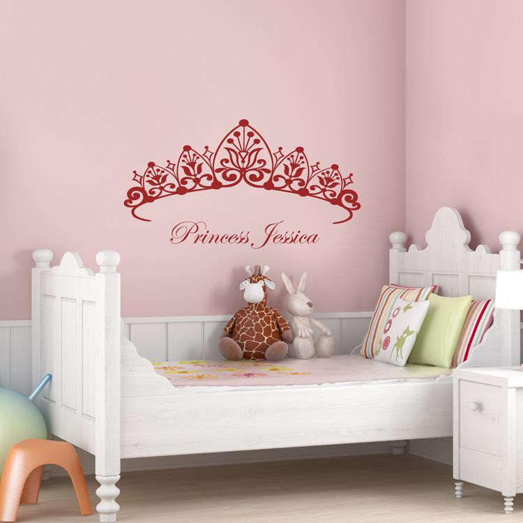 Wall Decals For Girl Bedroom  Princess Headboard Girls Room Wall Decals