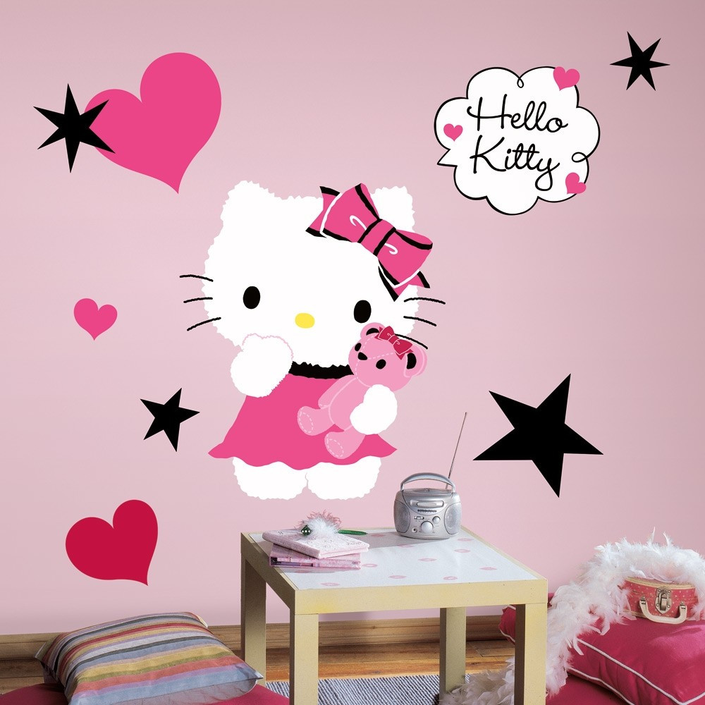 Wall Decals For Girl Bedroom  New HELLO KITTY COUTURE WALL DECALS Girls Bedroom