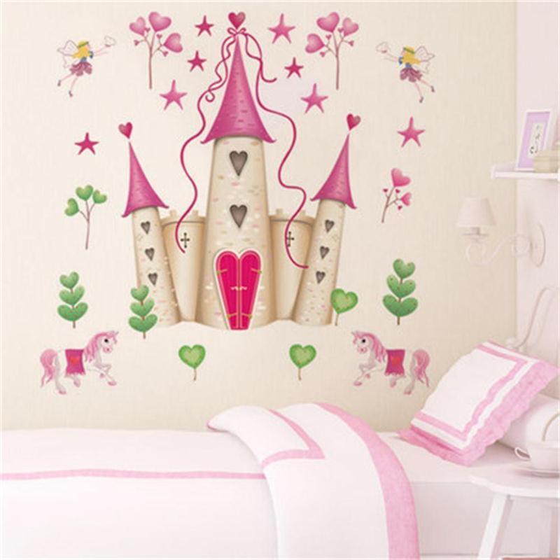 Wall Decals For Girl Bedroom  Removable DIY Princess Castle Star Fantasy Girls Bedroom