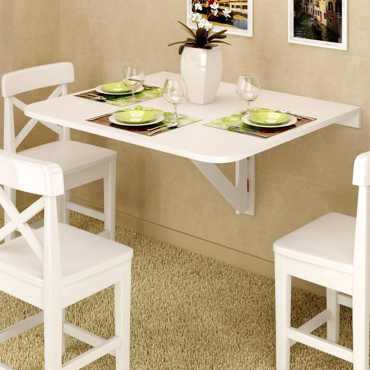 Wall Mounted Kitchen Tables  Amazon Wall Mount Drop Leaf Table White Solid