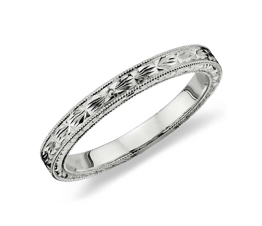 Wedding Band Engravings  Hand Engraved Wedding Ring in Platinum