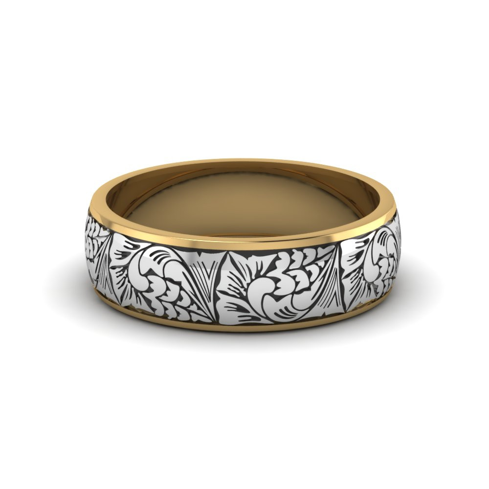 Wedding Band Engravings  Engraved Two Tone Wedding Band In 14K Yellow Gold