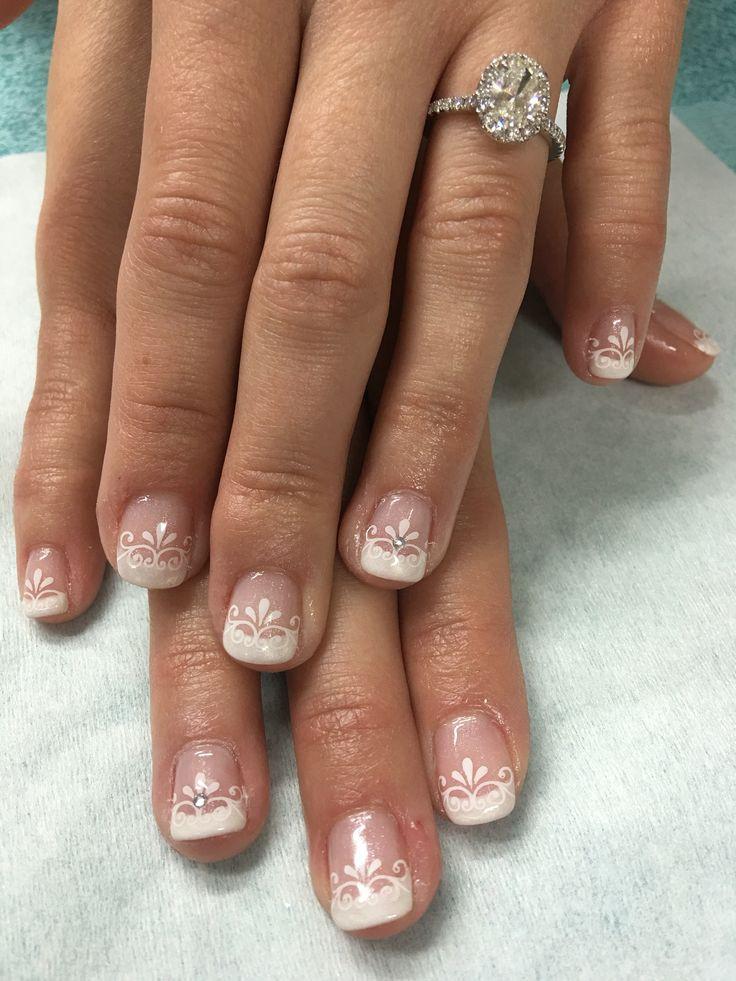 Wedding Nails Gel  Stamped bridal wedding gel nails