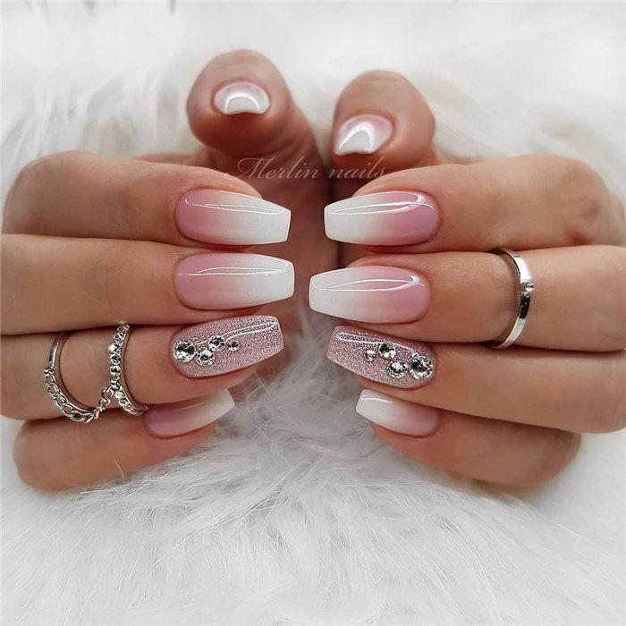 Wedding Nails Gel  Wedding Natural Gel Nails Design Ideas for Bride 2019