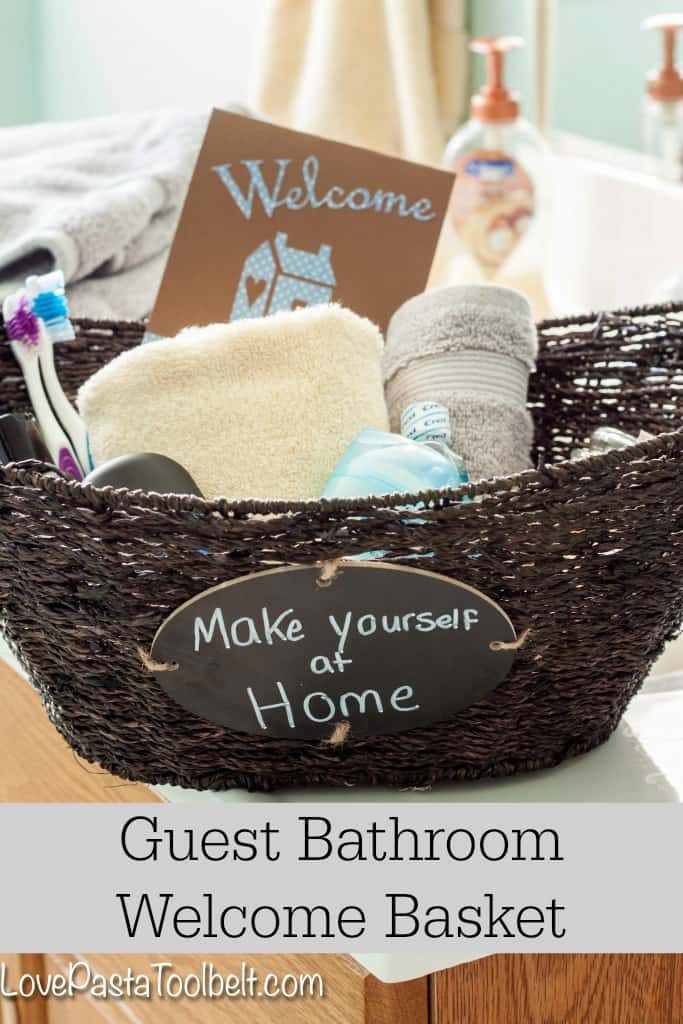 Welcome Gift Basket Ideas  Guest Bathroom Wel e Basket Love Pasta and a Tool Belt