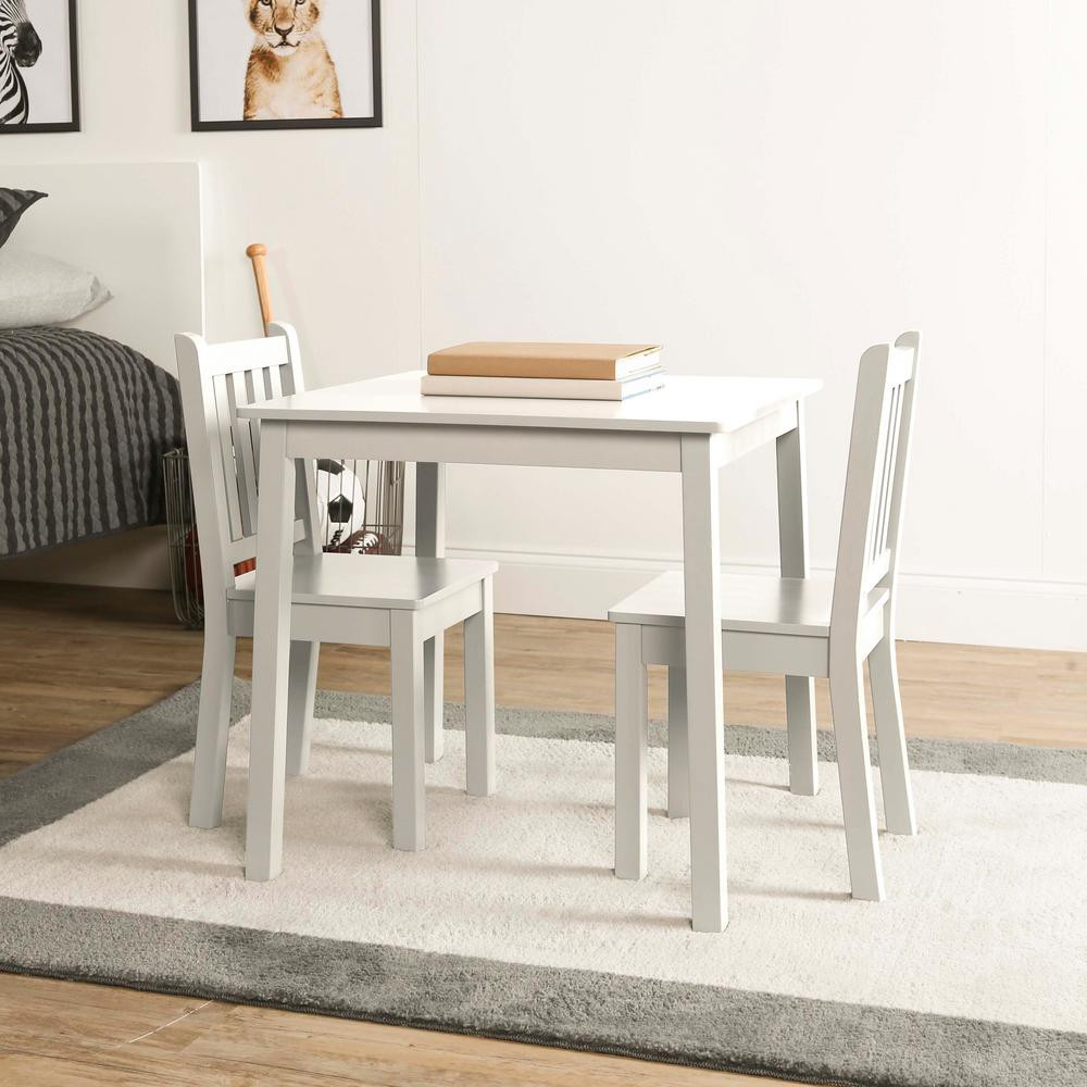 White Kids Chair  Tot Tutors Daylight 3 Piece White Kids Table and Chair Set