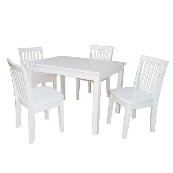 White Kids Chair  Shop Juvenile Linen White Table with Four Chairs Set