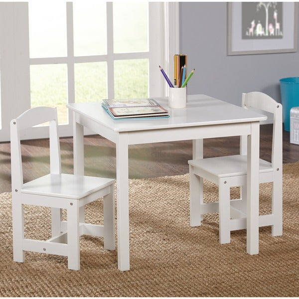 White Kids Chair  Shop Simple Living White 3 piece Hayden Kids Table Chair