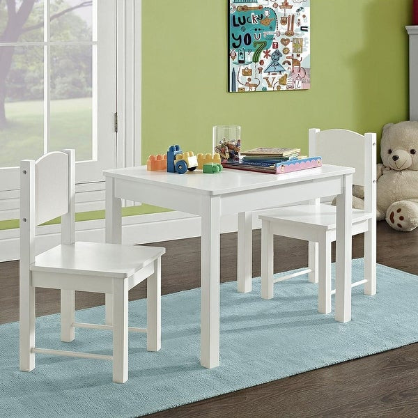 White Kids Chair  Shop Kid s Table and 2 chairs Set Solid Hard Wood sturdy