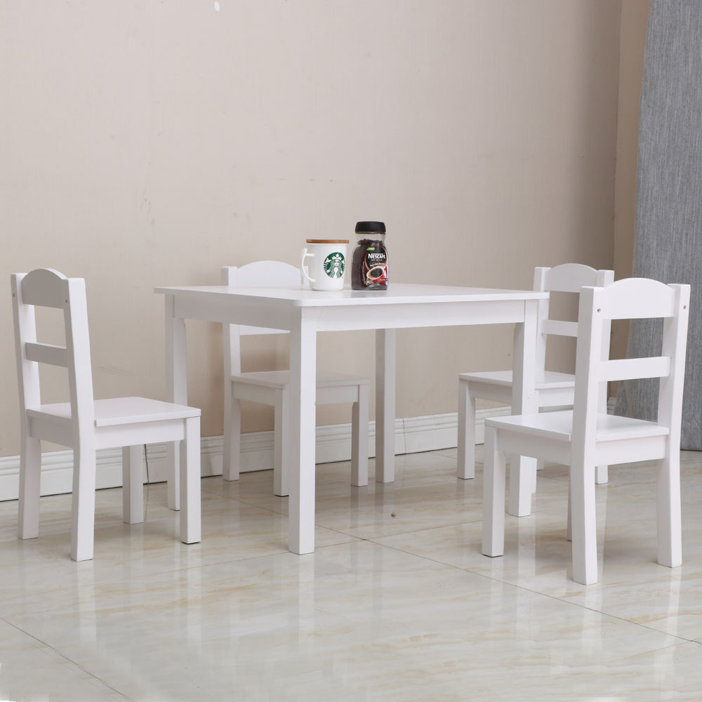 White Kids Chair  Kids White Square Table and 4 Pastel Chair Play Set Wood