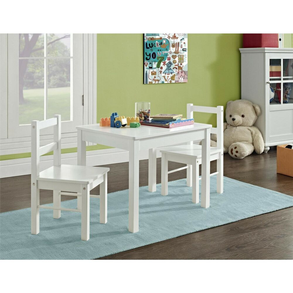 White Kids Chair  Altra Hazel Kid s White 3 piece Table and Chair Set by
