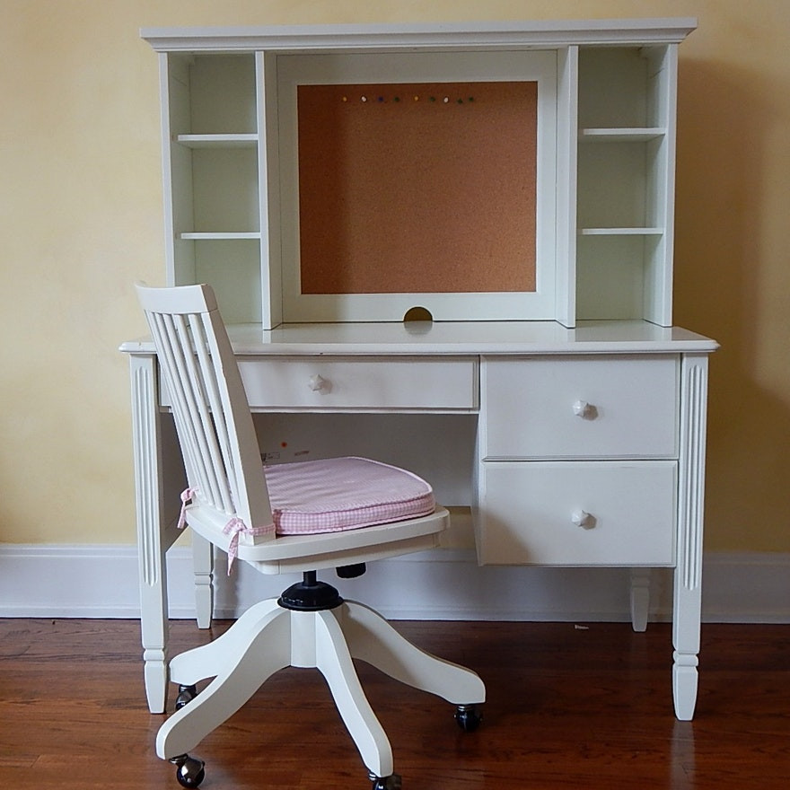 White Kids Chair  Pottery Barn Kids White Desk Hutch and Chair