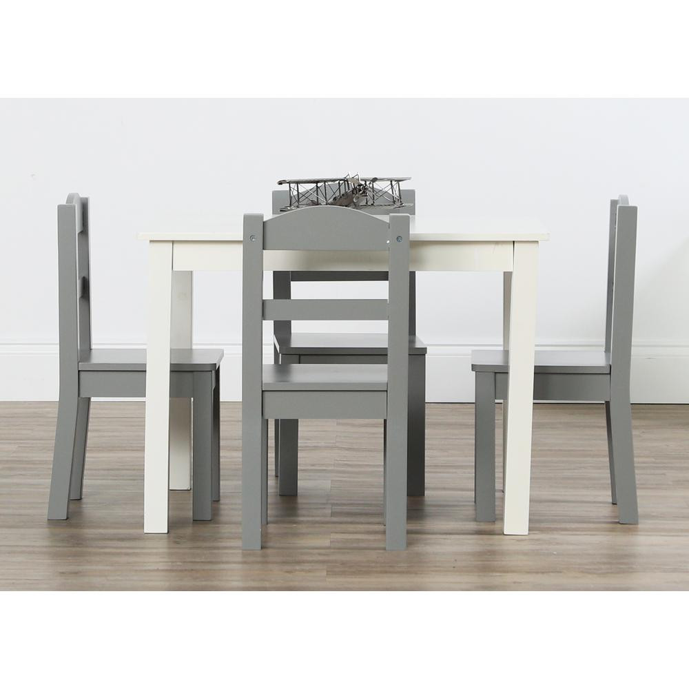 White Kids Chair  Tot Tutors Springfield 5 Piece White Grey Kids Table and
