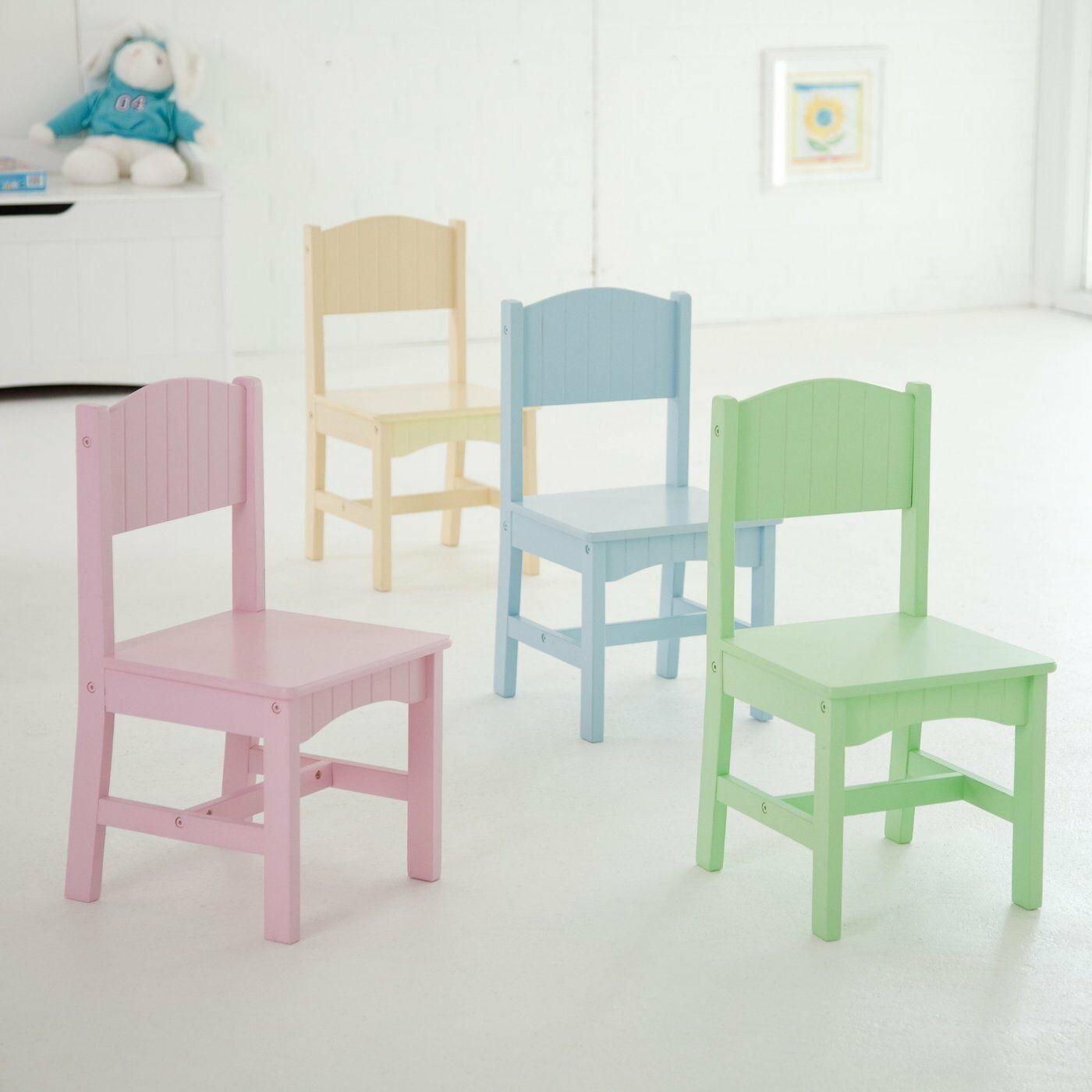 White Kids Chair  Kids Table Chair Set 5 Piece Furniture Children Play Room