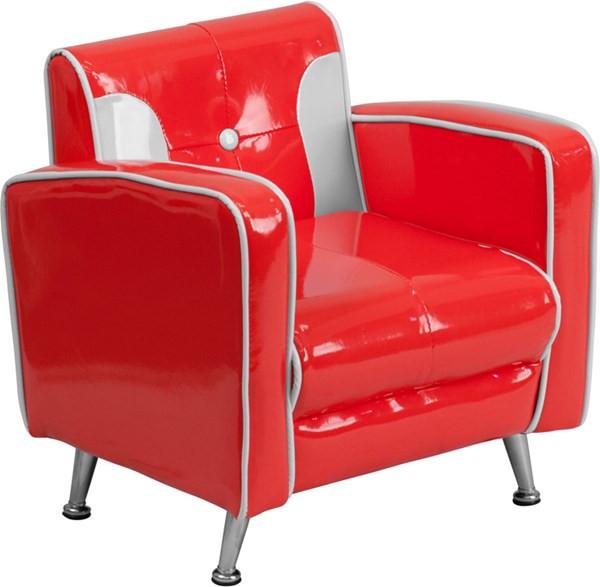 White Kids Chair  Red White Foam Plastic Vinyl Tufted Back Kids Chair