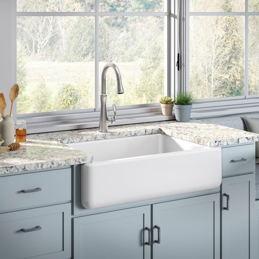 White Kitchen Sink Home Depot  KOHLER White Haven Undermount Cast Iron 32 6875 in Single