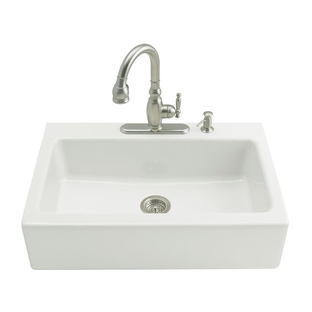 White Kitchen Sink Home Depot  KOHLER Dickinson Farmhouse Apron Front Cast Iron 33 in 3
