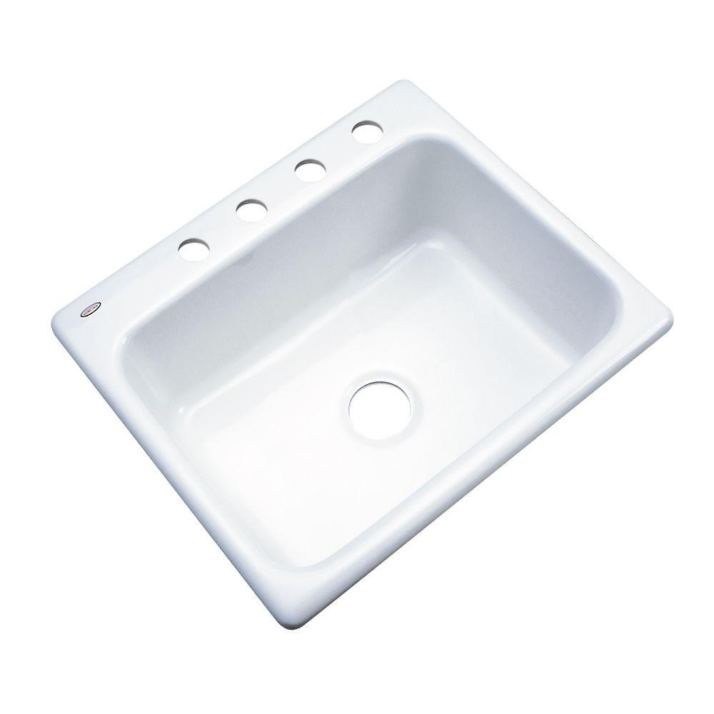 White Kitchen Sink Home Depot  Glacier Bay Inverness Drop In Acrylic 25 in 4 Hole Single