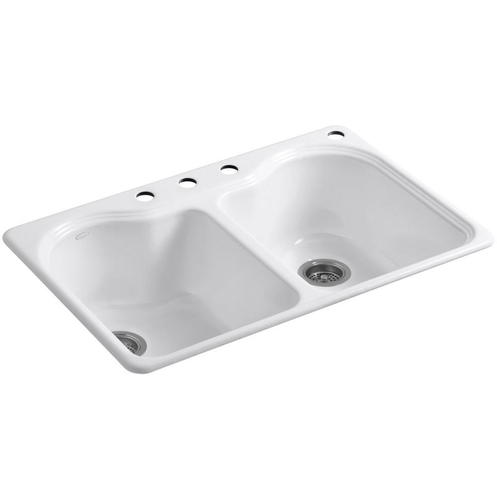 White Kitchen Sink Home Depot  KOHLER Hartland Drop In Cast Iron 33 in 4 Hole Double