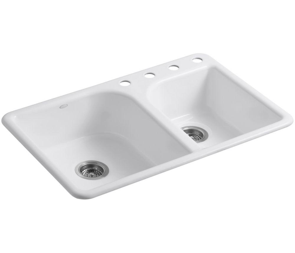 White Kitchen Sink Home Depot  KOHLER Efficiency Tm Self Rimming Kitchen Sink in White