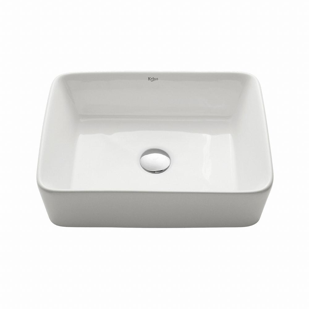 White Kitchen Sink Home Depot  KRAUS Rectangular Ceramic Vessel Bathroom Sink in White
