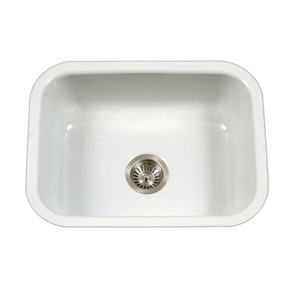 White Kitchen Sink Home Depot  HOUZER Porcela Series Undermount Porcelain Enamel Steel 23