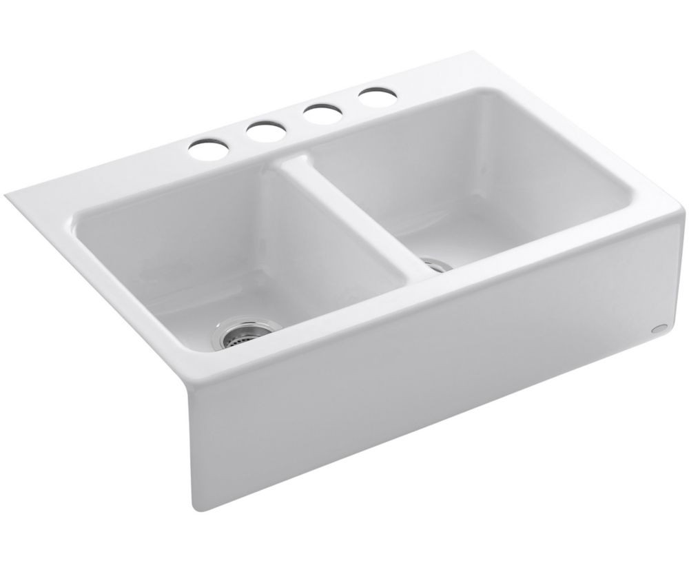 White Kitchen Sink Home Depot  KOHLER Hawthorne Tm Apron Front Undercounter Kitchen