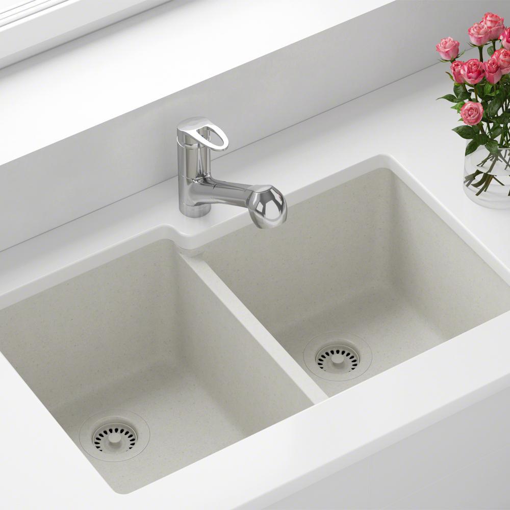 White Kitchen Sink Home Depot  MR Direct All in e Undermount Granite posite 32 5 in