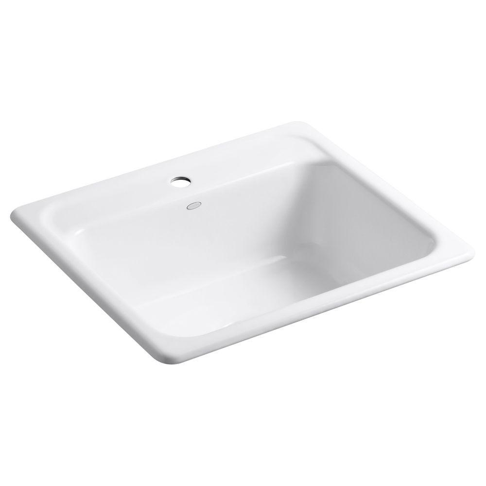 White Kitchen Sink Home Depot  KOHLER Mayfield Tm Self Rimming Kitchen Sink in White