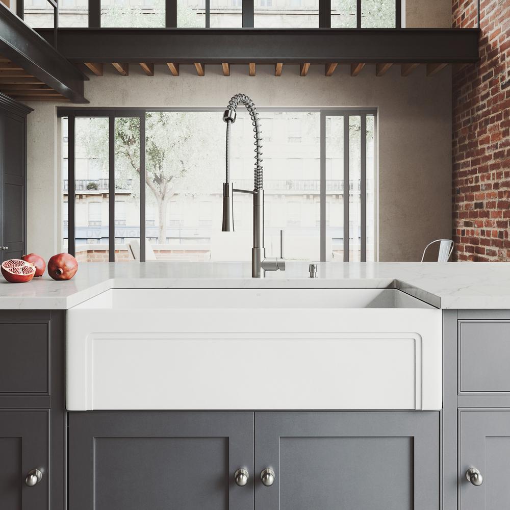 White Kitchen Sink Home Depot  VIGO All in e Farmhouse Matte Stone 36 in Single Bowl