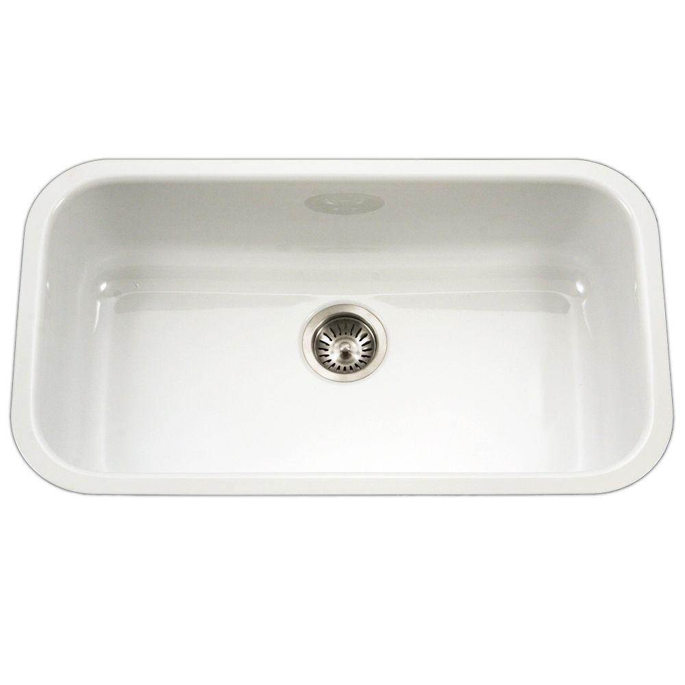 White Kitchen Sink Home Depot  HOUZER Porcela Series Undermount Porcelain Enamel Steel 31
