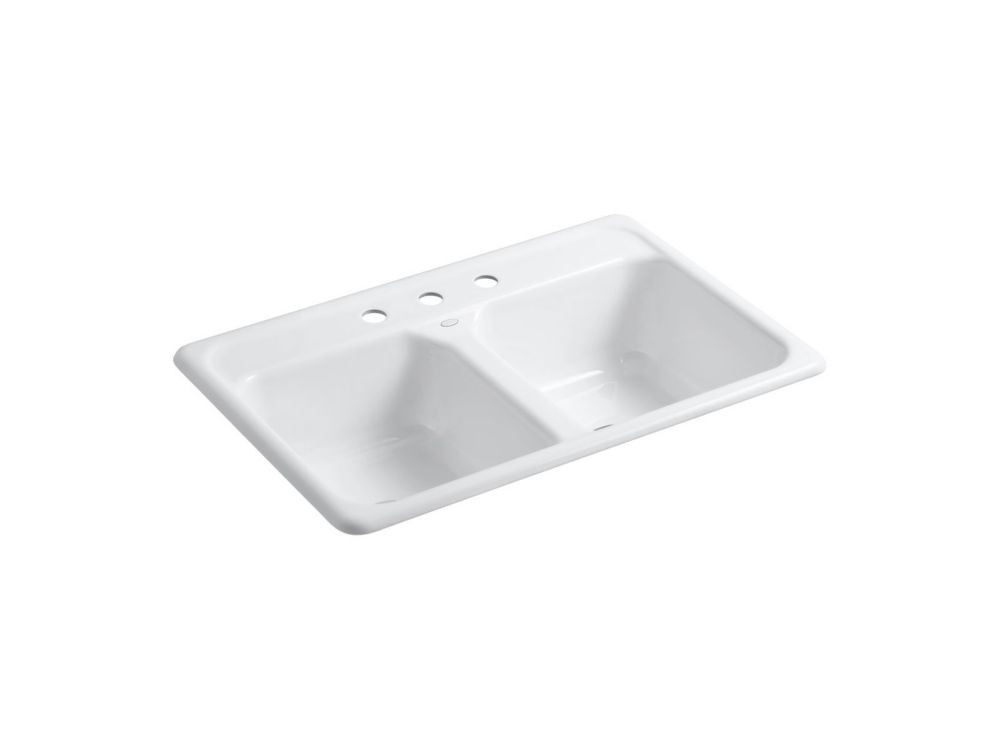 White Kitchen Sink Home Depot  KOHLER Delafield Self Rimming Kitchen Sink in White