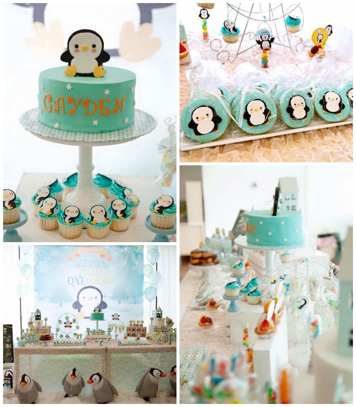 """Winter Birthday Party Ideas For 1 Year Old  Kara s Party Ideas Winter """" e""""derland Penguin 1st"""