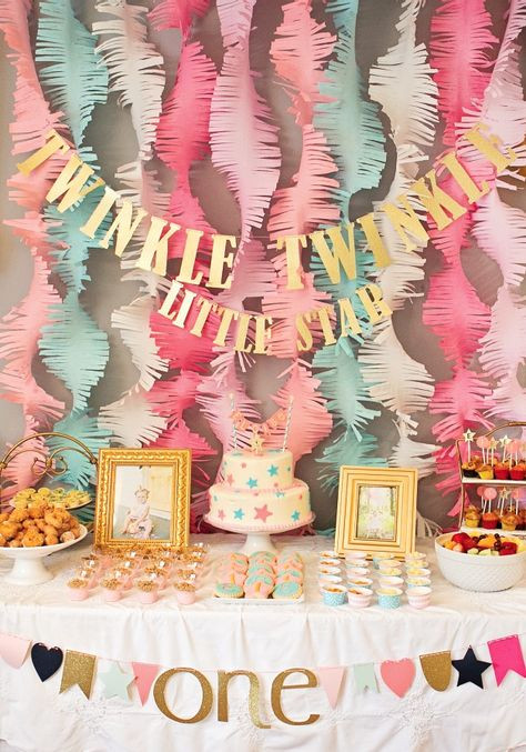 """Winter Birthday Party Ideas For 1 Year Old  This """"Twinkle Twinkle Little Star"""" first birthday party is"""