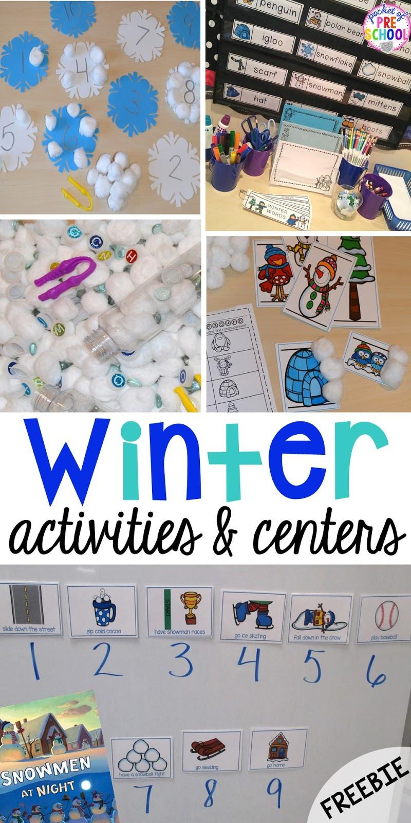 Winter Themed Activities For Preschoolers  Winter Themed Activities and Centers Snowman at Night