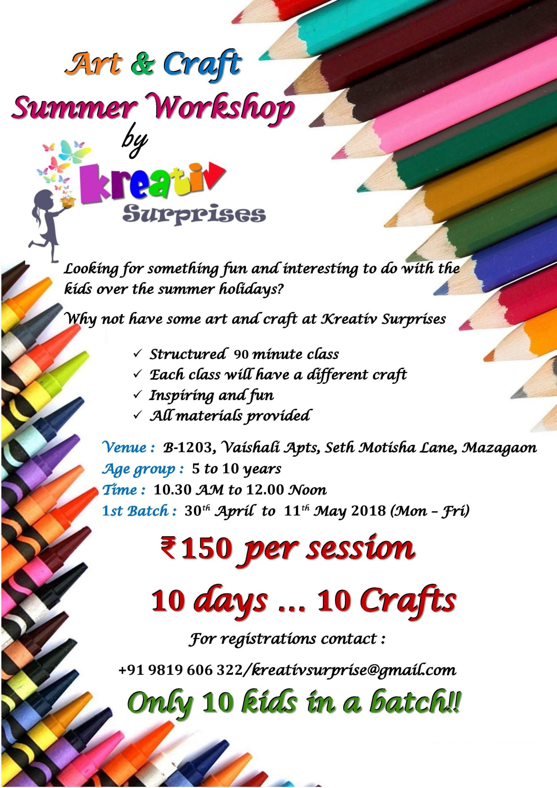 Workshop Ideas For Adults  Art and Craft Workshop by Kreativ Surprises