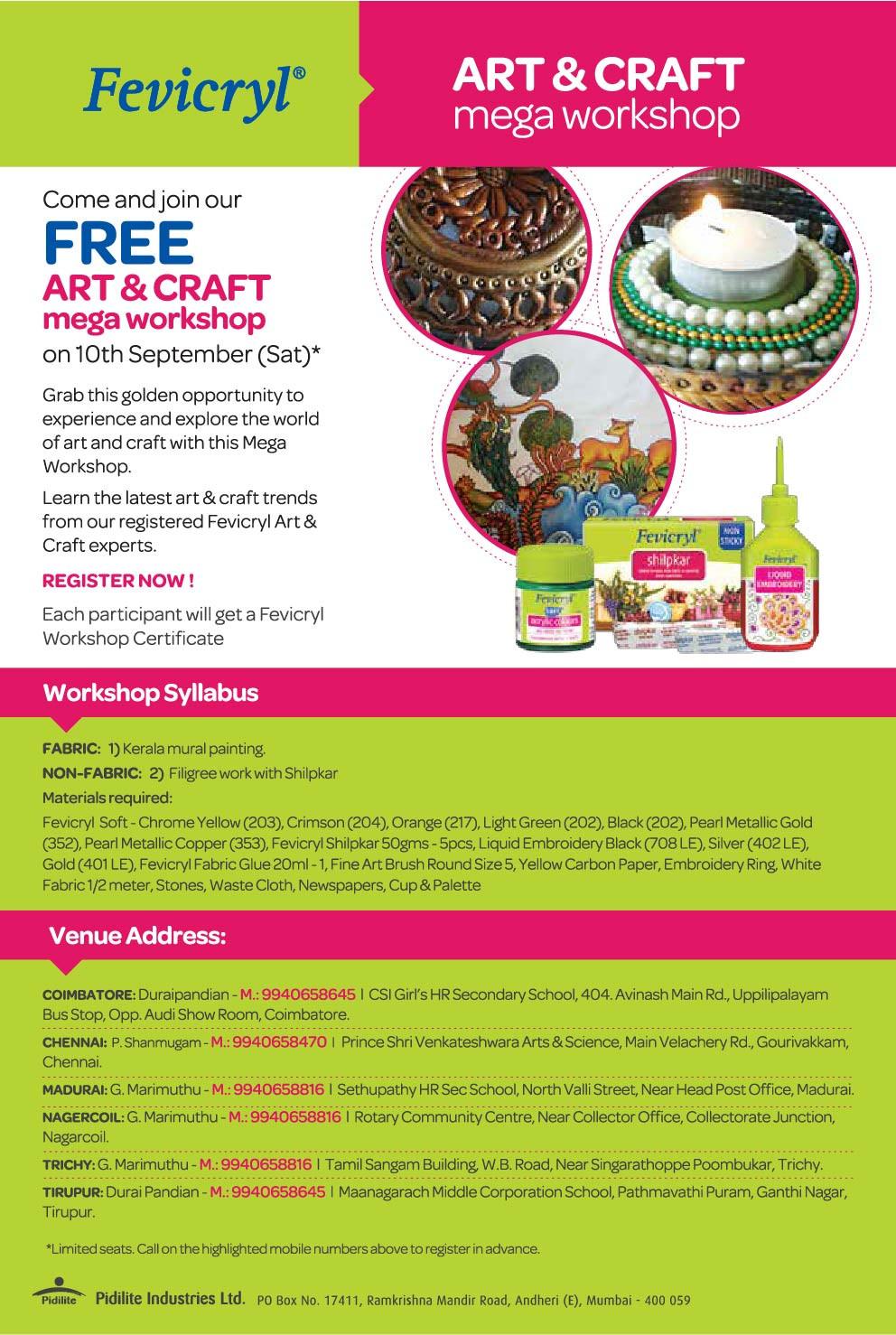 Workshop Ideas For Adults  Tamil Nadu 10th September Mega Workshop