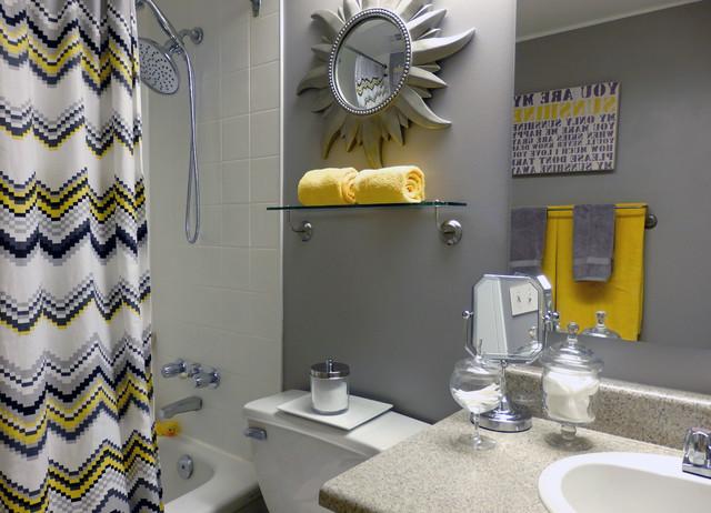 Yellow And Gray Bathroom Decor  Grey and Yellow Bathroom Contemporary Bathroom