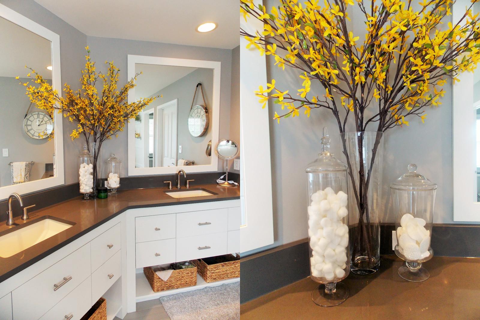 Yellow And Gray Bathroom Decor  Jessica Stout Design Yellow Gray Modern Master Bath