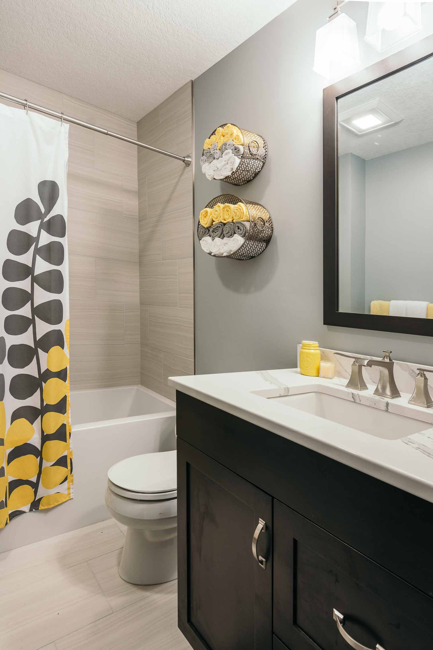 Yellow And Gray Bathroom Decor  Project Finished 1989 Bathrooms Be e Beautiful
