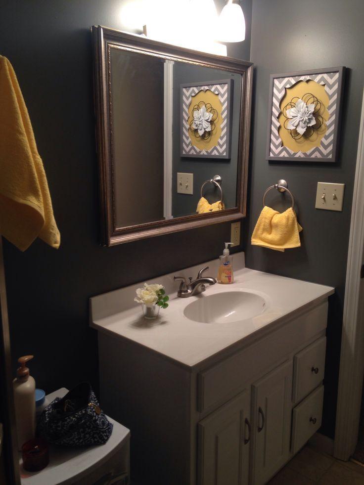 Yellow And Gray Bathroom Decor  Dark grey and yellow bathroom