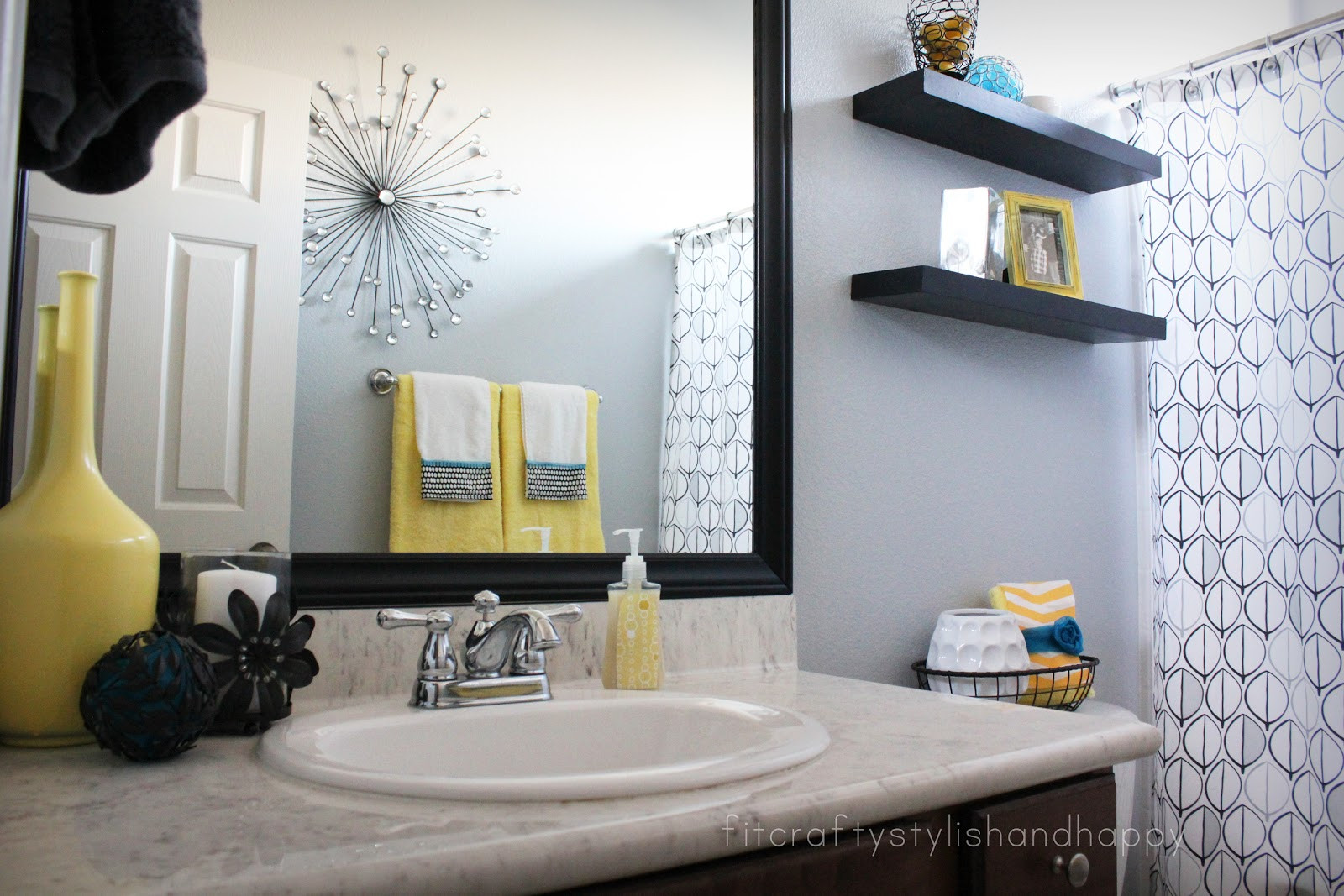 Yellow And Gray Bathroom Decor  Fit Crafty Stylish and Happy Guest Bathroom Makeover