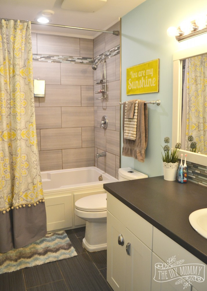 Yellow And Gray Bathroom Decor  Kids' Bathroom Reveal and some great tips for post reno