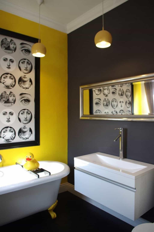 Yellow And Gray Bathroom Decor  Bathroom With Yellow Grey Wall Colors Bathroom