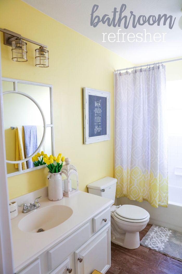 Yellow And Gray Bathroom Decor  24 Yellow Bathroom Ideas InspirationSeek